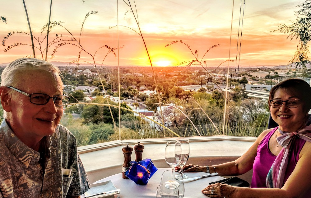 couple enjoying sunset after dinner at the Wrigley Mansion in Phoenix, Arizona