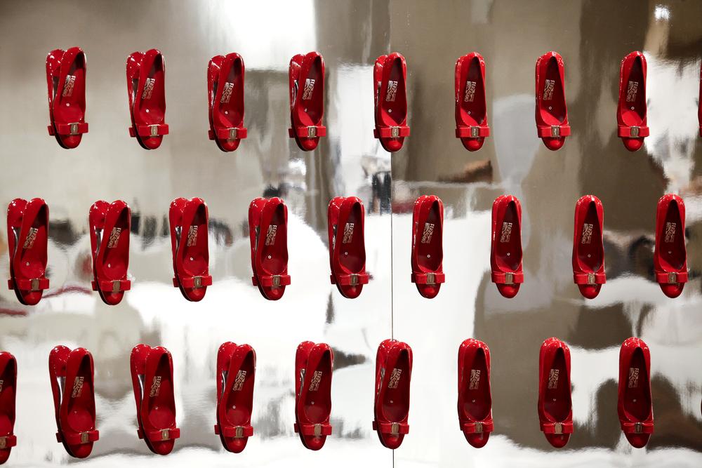 Shoe exhibition, Ferragamo Museum in Florence, Italy.