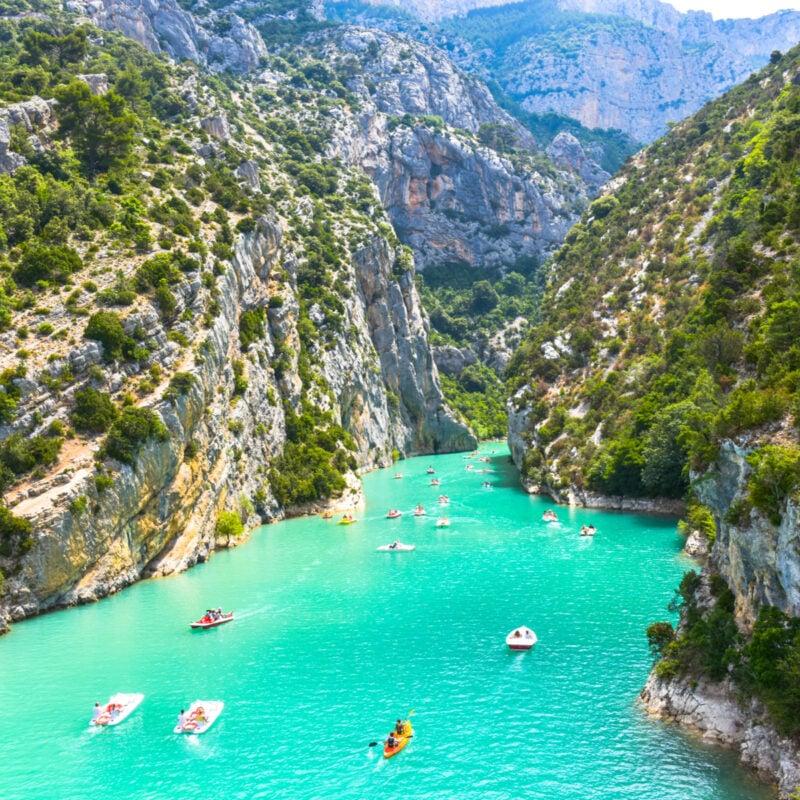 Boats in Gorges du Verdon in Provence, France.