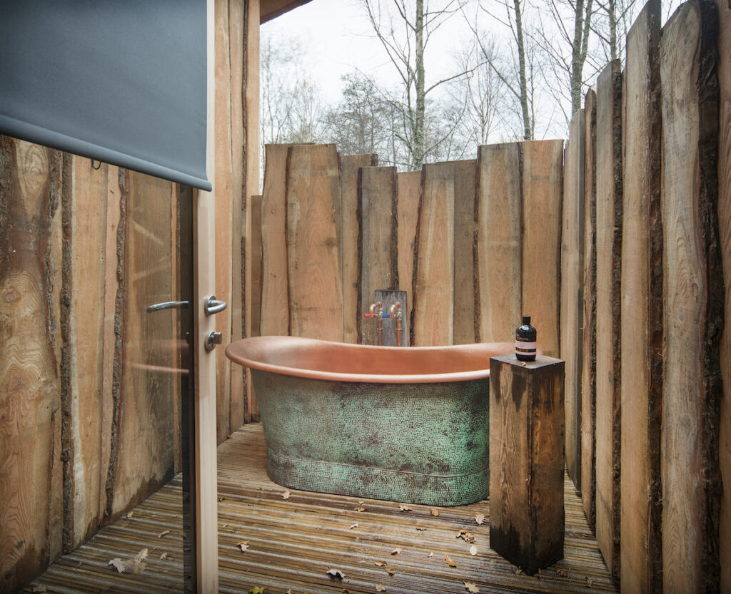 Copper tub at The Treehouses.