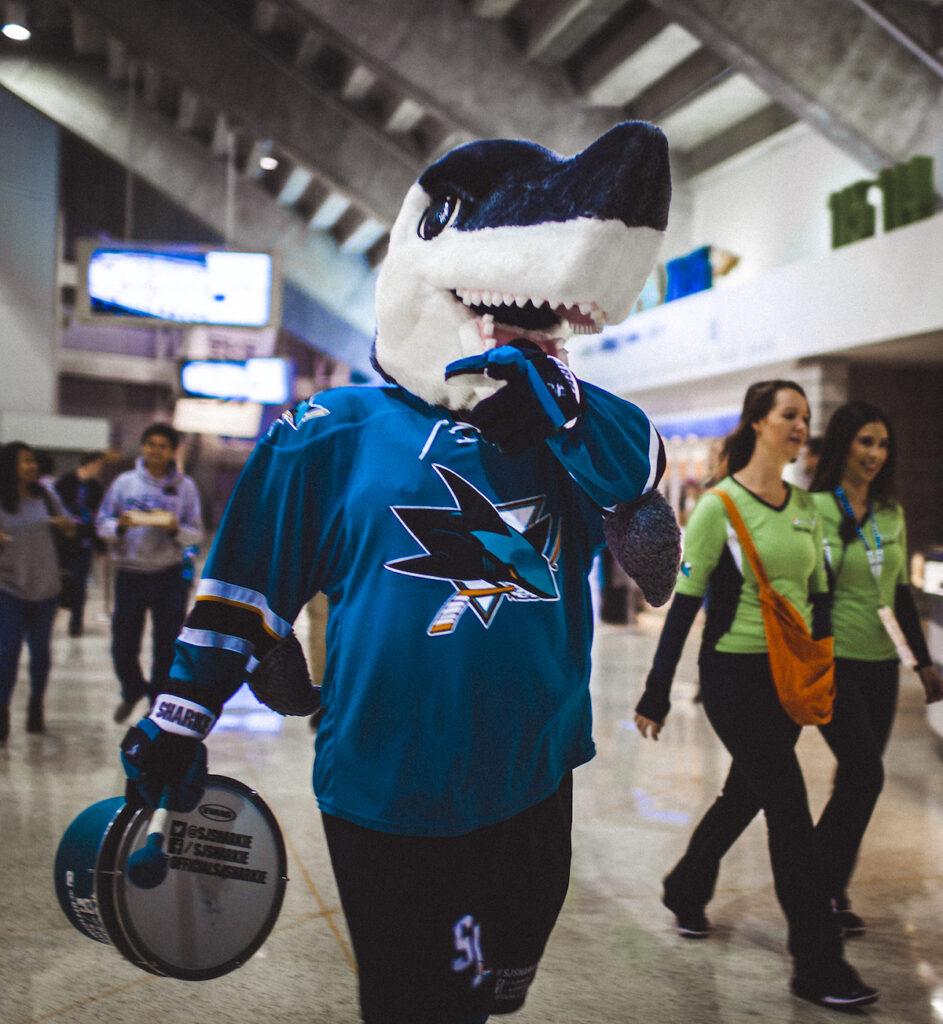 Sharkie at a San Jose Sharks game.