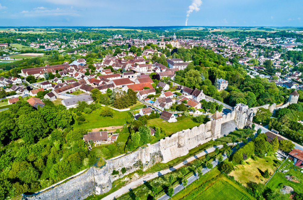 Aerial view of Provins, France.