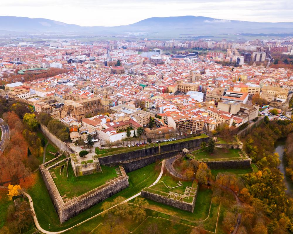 Aerial view of Pamplona, Spain.