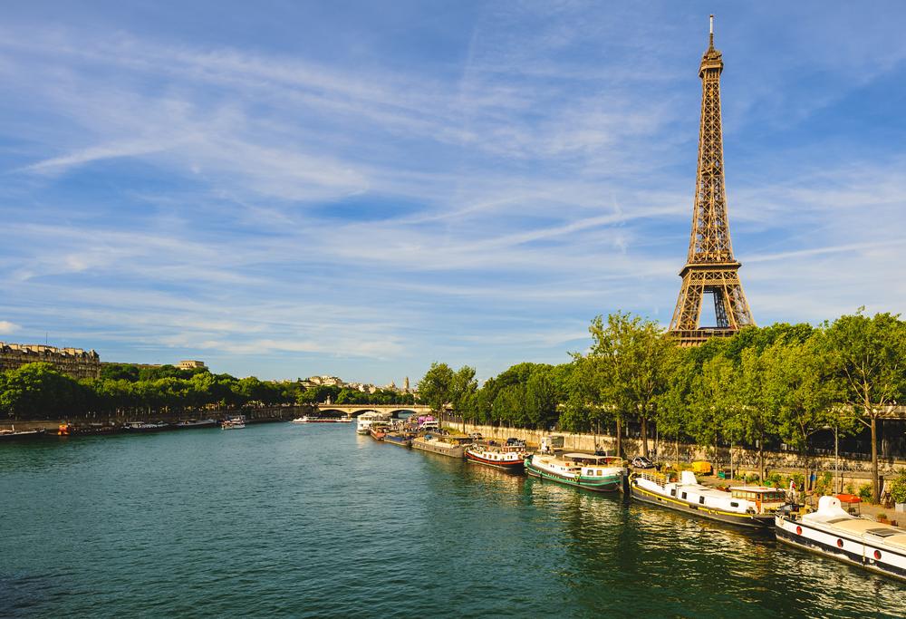 Bank of Seine river in Paris, France.