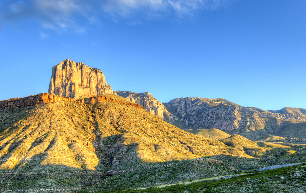 El Capitan, under storm clouds, in Guadalupe Mountains National Park, Texas.