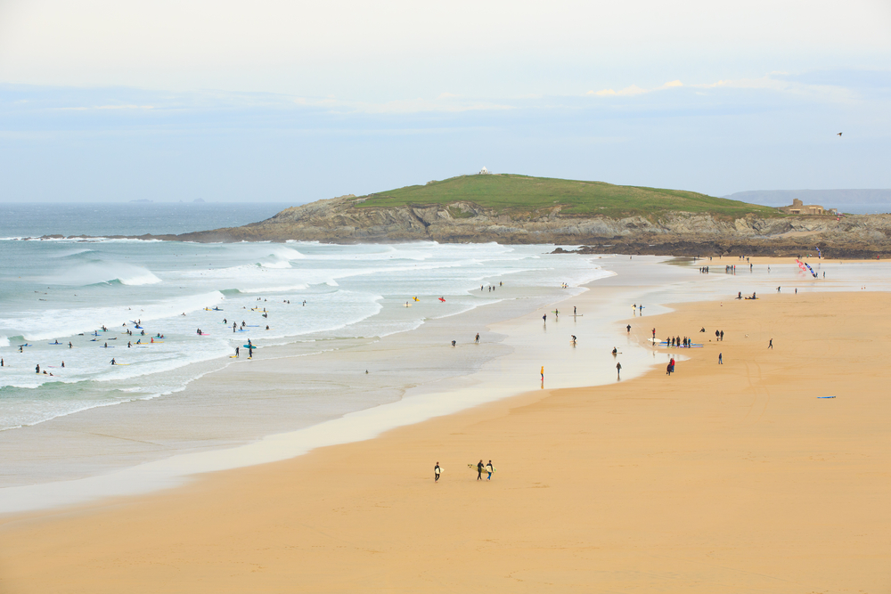 Fistral Beach in Cornwall, England.