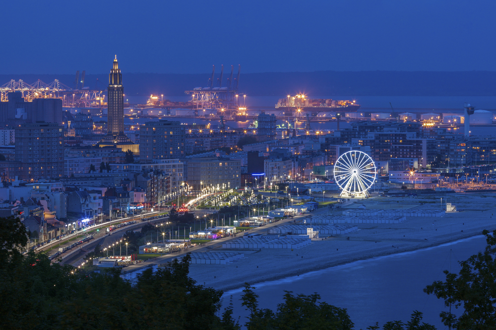 Le Havre, Normandy, France, at night.