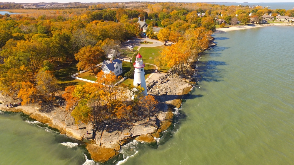 Aerial view of Marblehead, Ohio in the fall.
