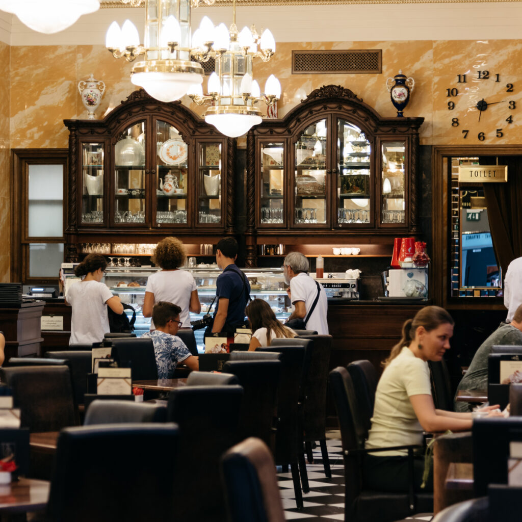 Interior view of Szamos Gourmet Haz one of the most famous pattiseries of Budapest.