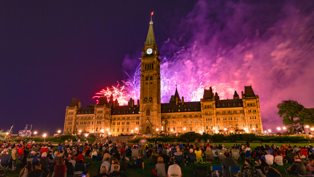 Spectacular Fireworks Display at Parliament Hill in Ottawa