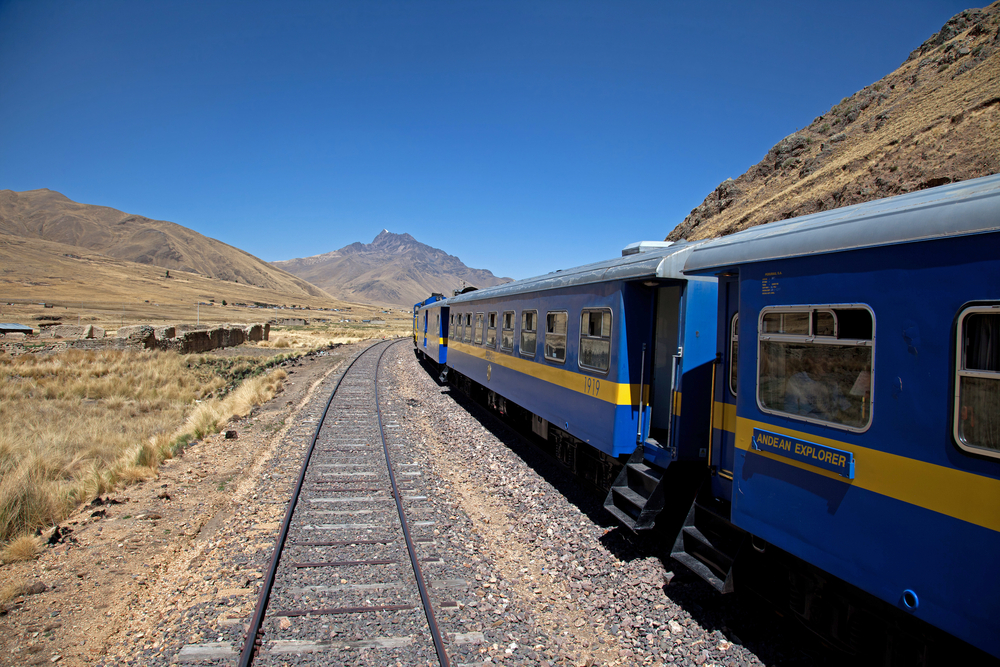 Andean Explorer Train travelling through the Andes Peru South America