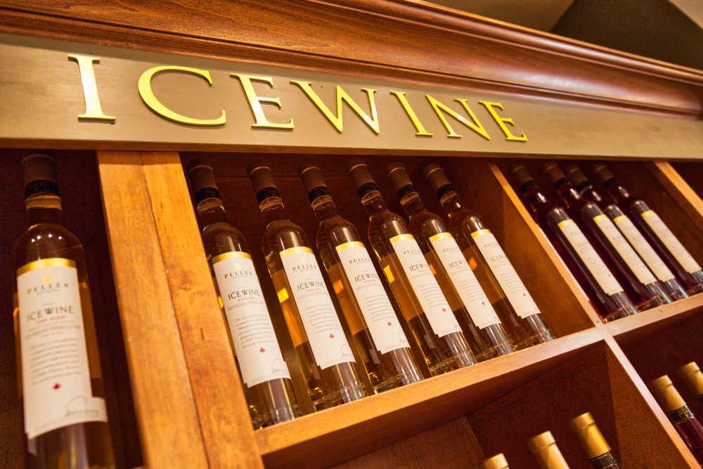 Famous Niagara Ice Wine on display at an upscale winery