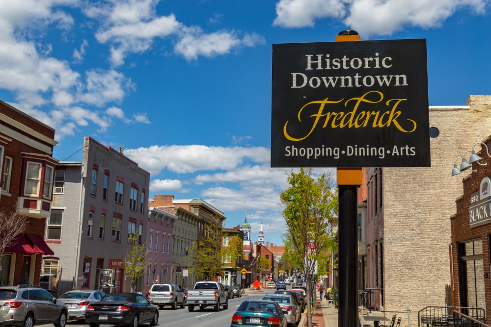 Historic Downtown Frederick Maryland sign in downtown area.