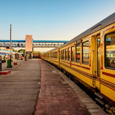 The Palace on Wheels luxury tourist train in Udaipur City railway station of North Western Railway of Indian Railways.