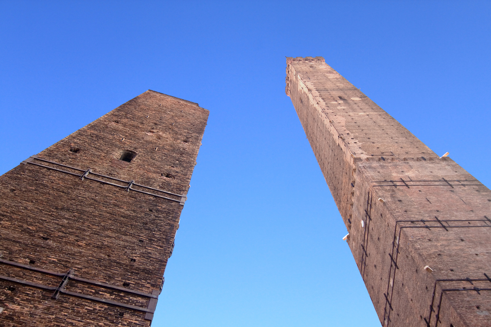 Garisenda and Asinelli towers in Bologna, Italy