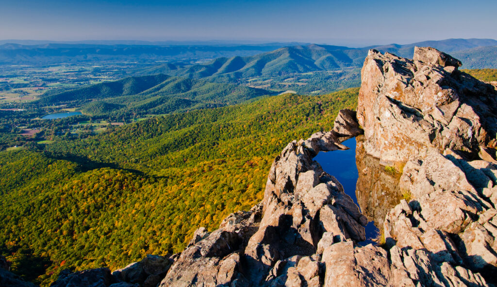 View of the Shenandoah Valley and Blue Ridge Mountains in Shenandoah National Park, Virginia.