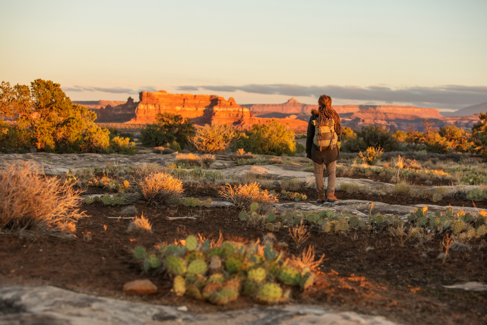 Hiker in Canyonlands National park, needles in the sky, in Utah, USA