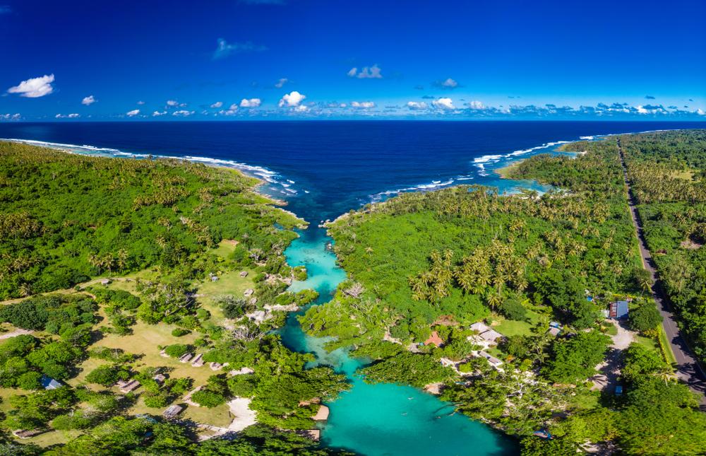 Drone view of The Blue Lagoon, Port Vila, Efate, Vanuatu