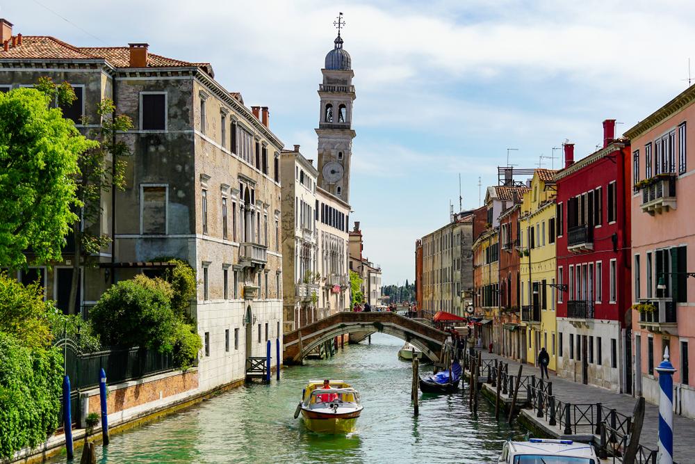 leaning Campanile of San Giorgio dei Greci tower in Venice