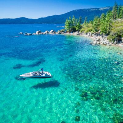 aerial view of boat in Emerald Bay in Lake Tahoe