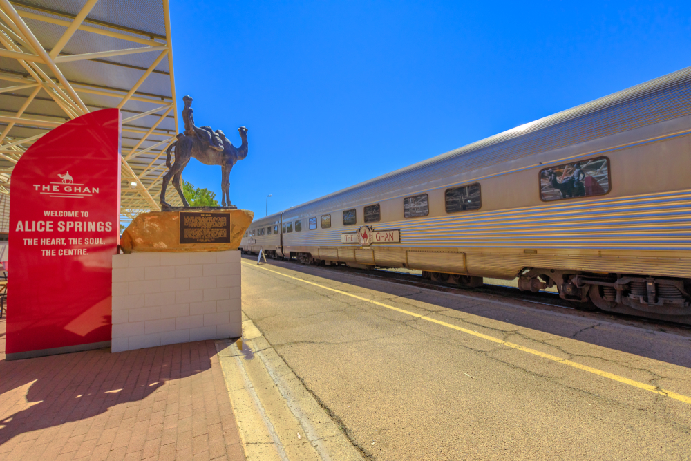 The Ghan in Alice Springs Train Station.