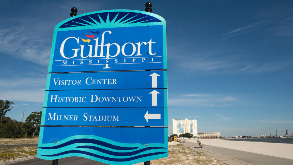 A sign for Gulfport.