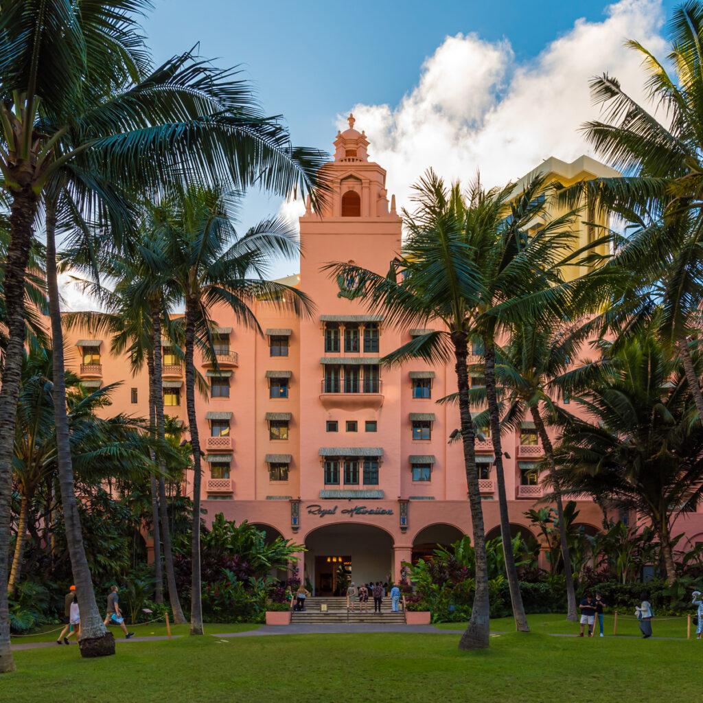 The Royal Hawaiian is an iconic resort hotel on Waikiki Beach.