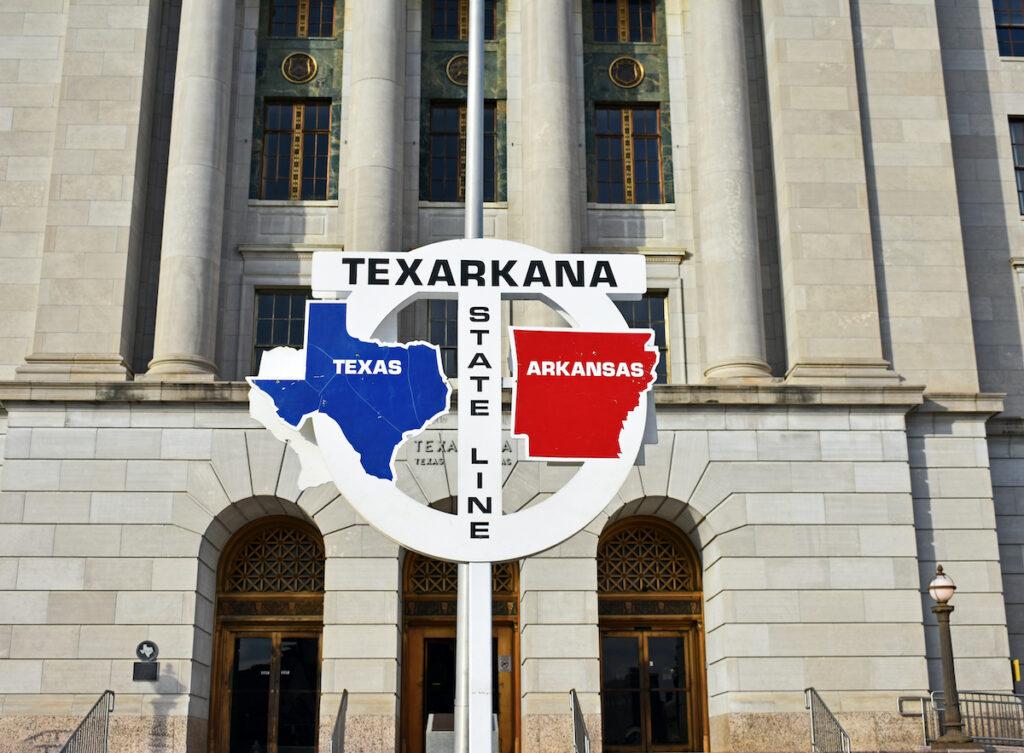 Texas/Arkansas state line sign, Texarkana.