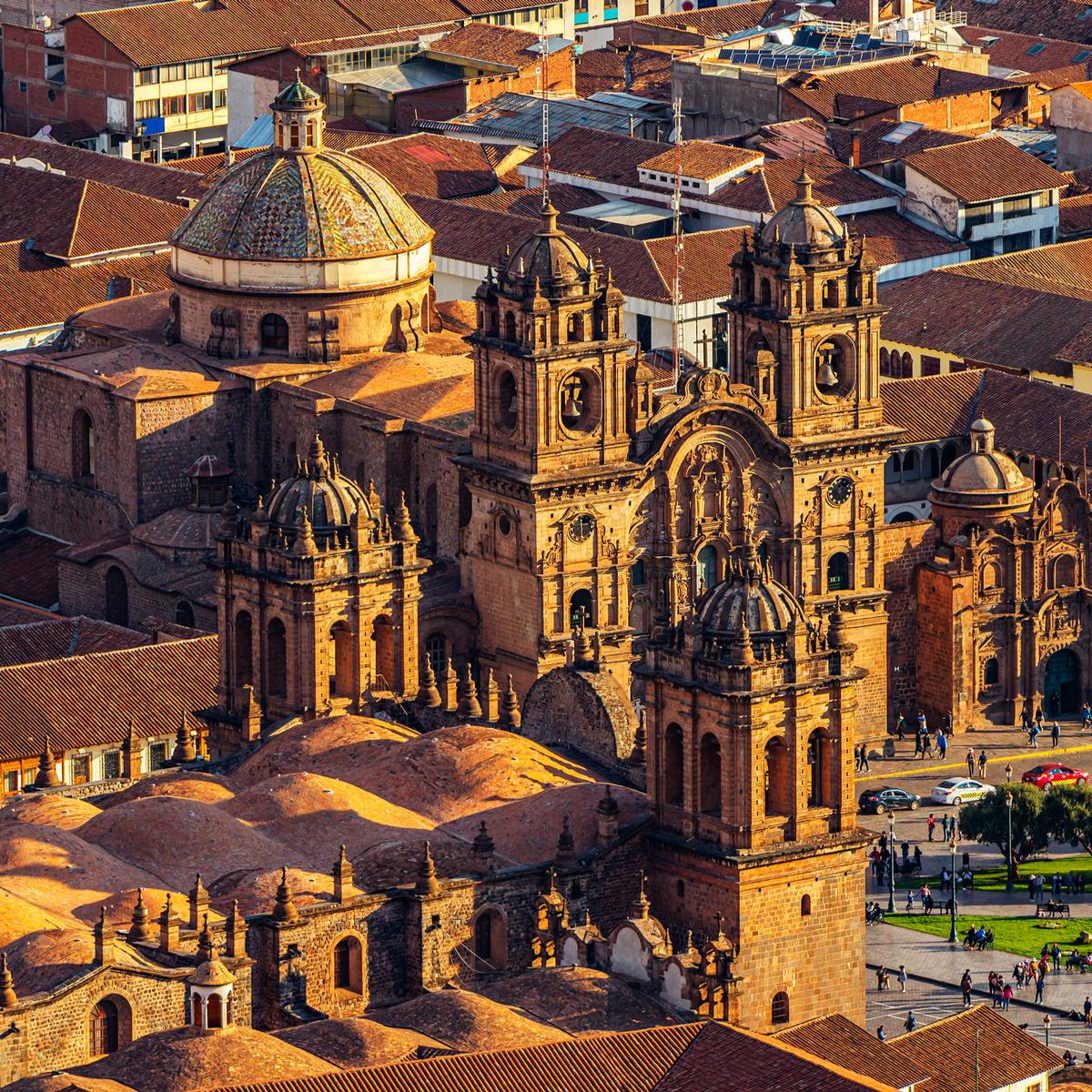 Cusco's (Plaza de Armas). Featuring the Cathedral Basilica and the Church La Compania de Jesus.