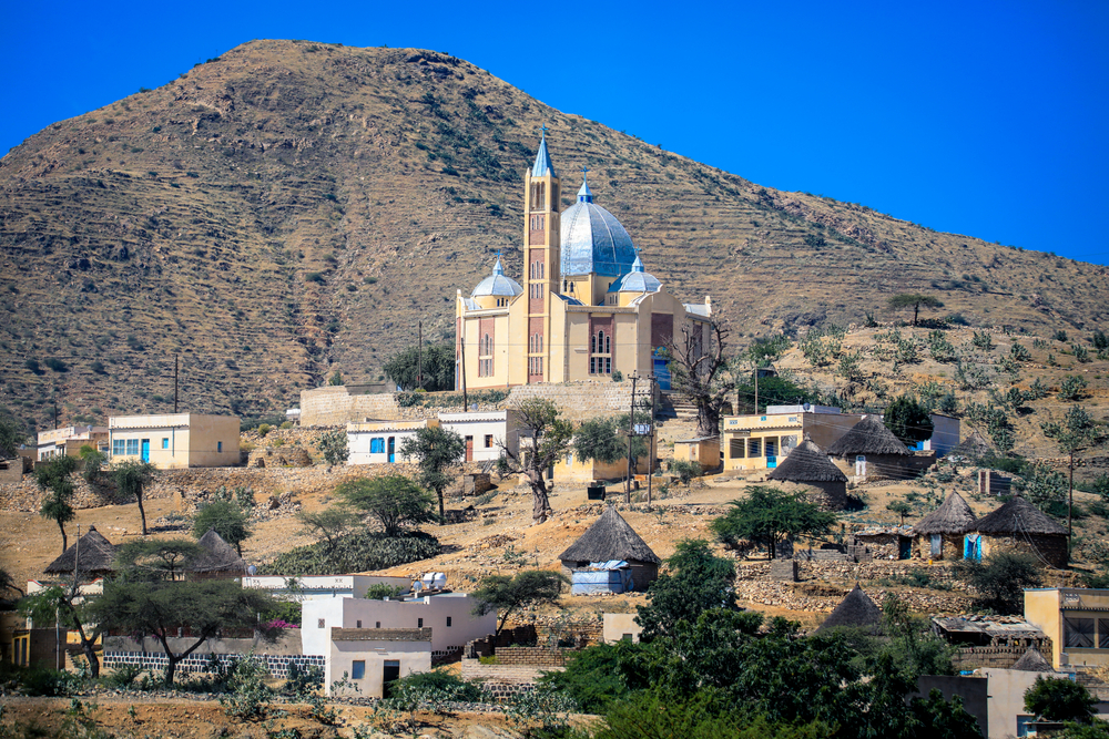 Small Local Village with Typical Keren Houses, Eritrea