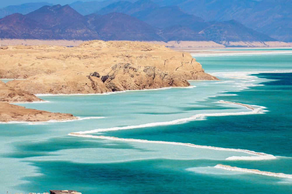 Salty Coastline of the Lake Assal, Djibouti