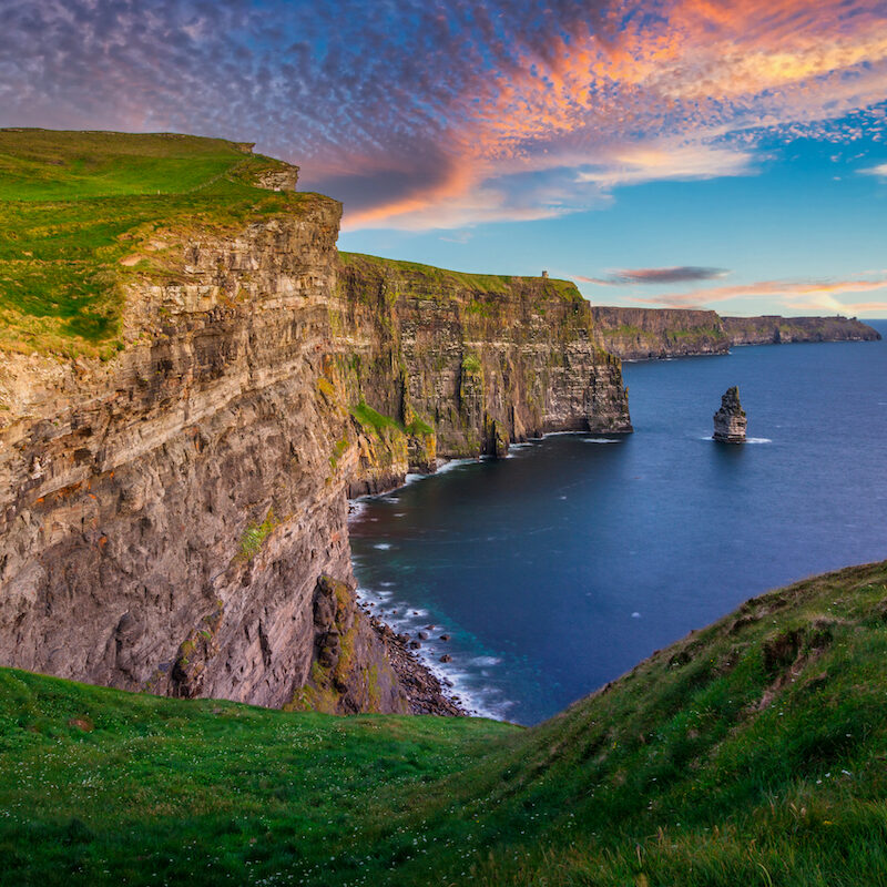 Amazing Cliffs of Moher at sunset in Ireland, County Clare