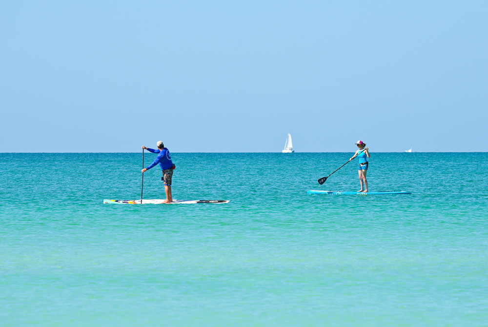man and woman paddle boarding in the Gulf of Mexico