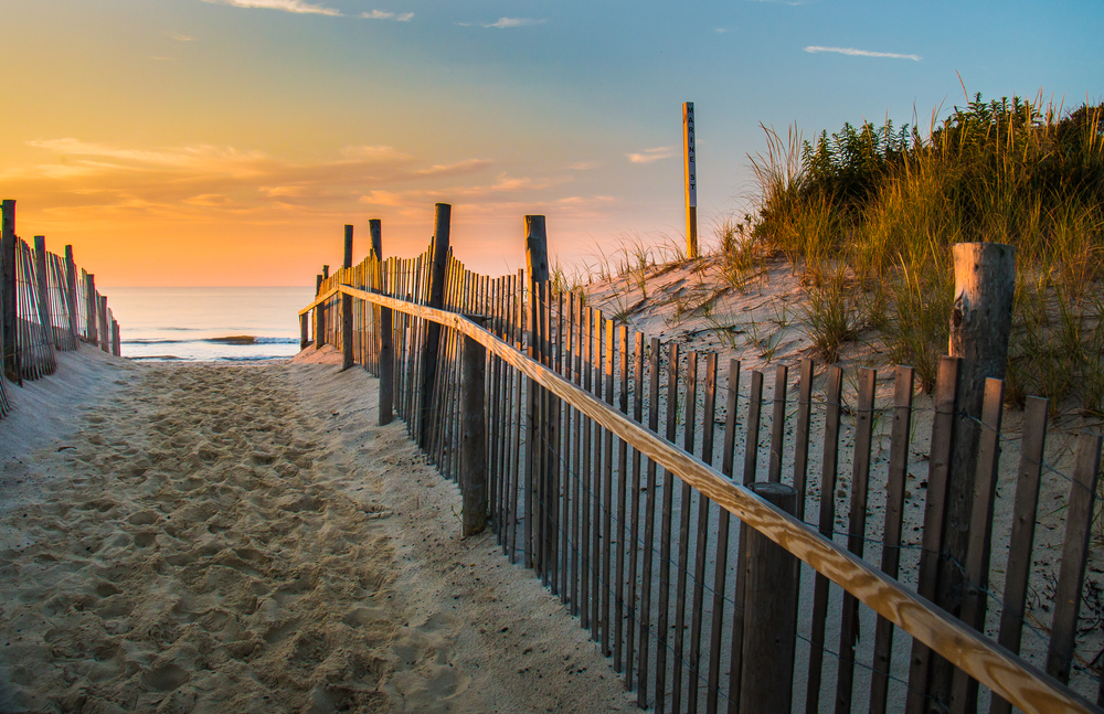 Sunrise glows at the Atlantic seashore at Marine St. in Beach Haven, New Jersey 2