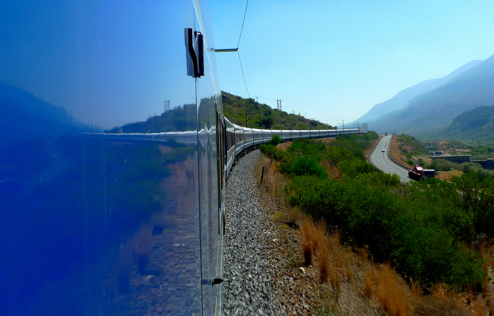 The famous luxury Blue Train snaking through the Karoo in South Africa, from Pretoria to Cape Town