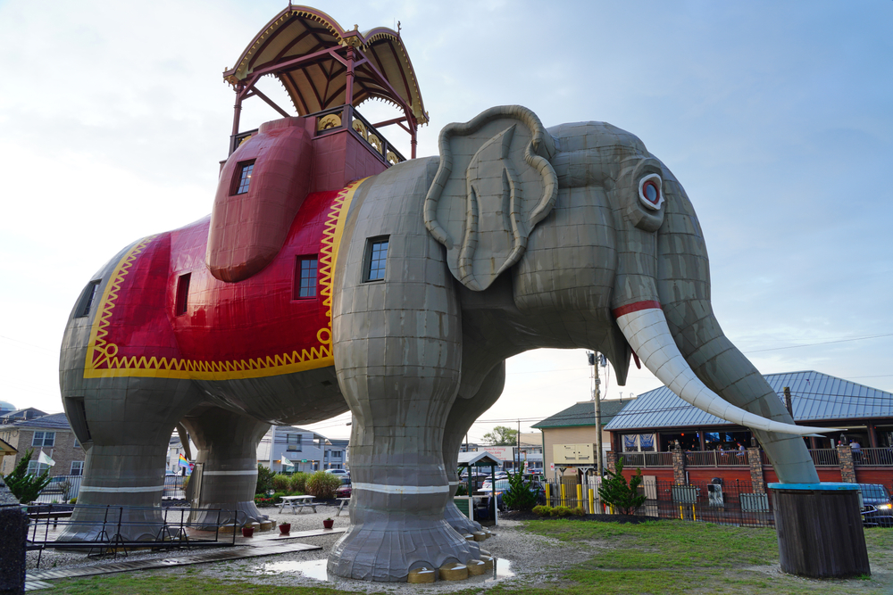 Lucy the Elephant, a landmark roadside tourist attraction on the U.S. National Register of Historic Places in Margate City, New Jersey.