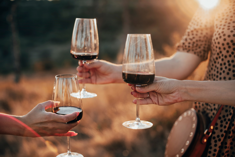 women cheers wine in celebration outdoors during sunset