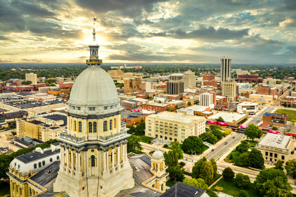 Aerial view of Springfield, IL.