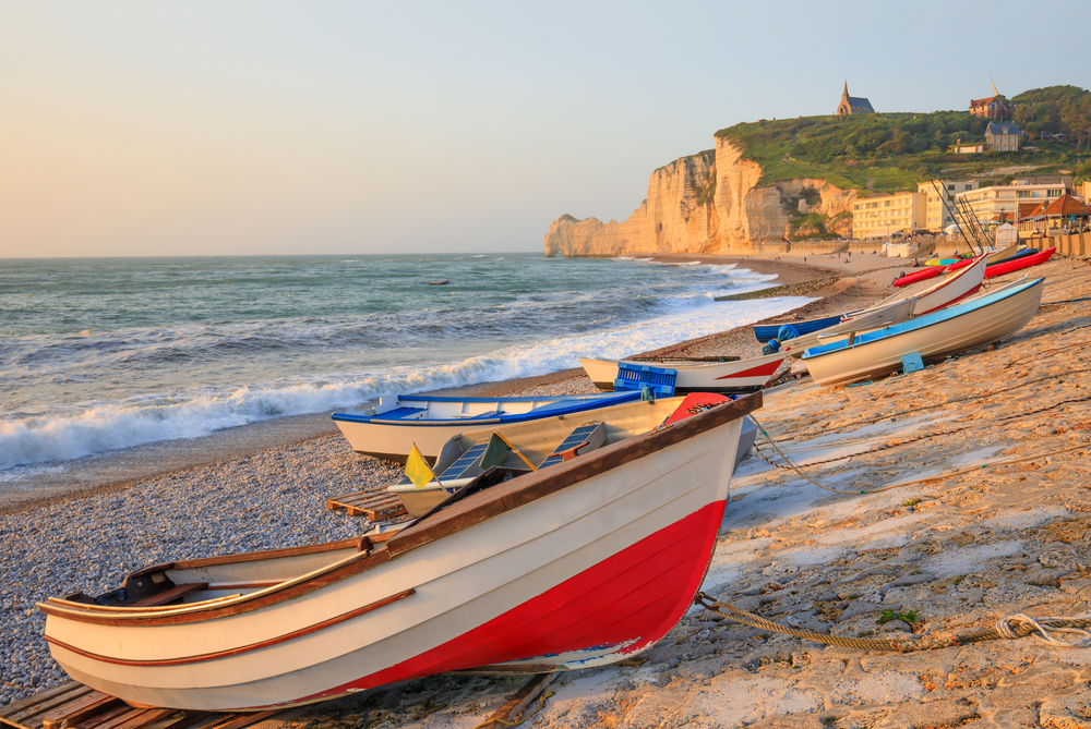 Boats en the beach of Etretat, Normandy, France