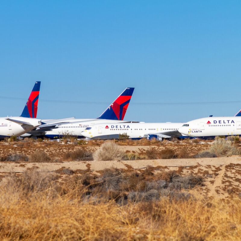 Delta planes parked during pandemic.