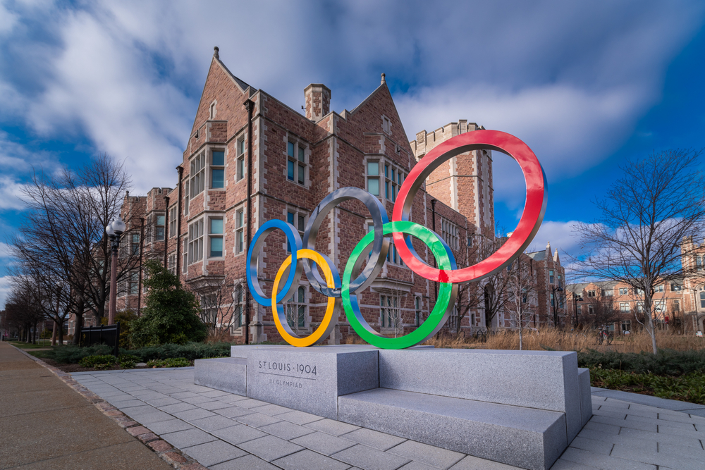 Colorful Olympic ring statue at Washington University in St Louis