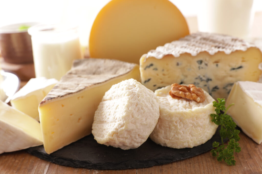 Various cheese, dairy products.