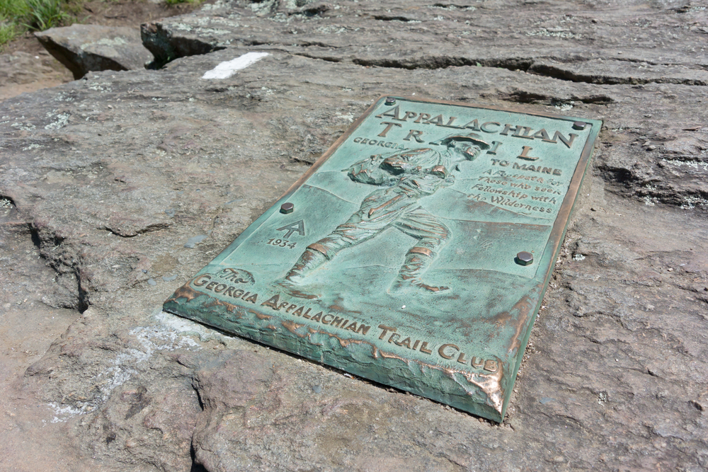 A copper plaque marks the beginning (or end) of the famed Appalachian Trail