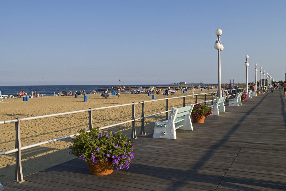 The boardwalk along the beach in the town called Avon by the Sea along the Jersey shore.