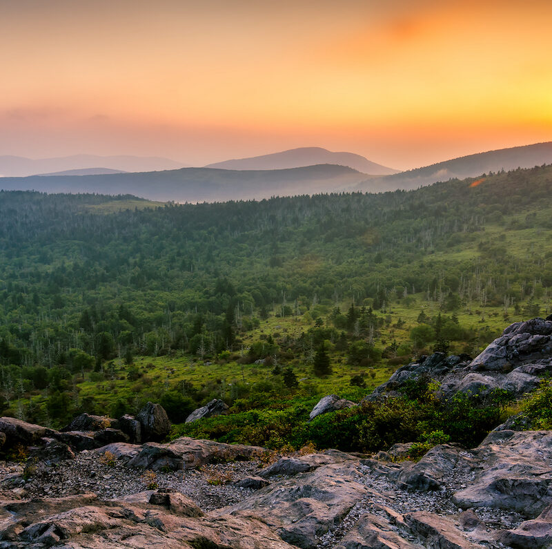 A hot summer sunset over the Grayson Highlands from Wilburn Ridge just off the Appalachian Trail