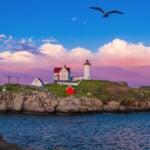 sunset Nubble Lighthouse, Cape Neddick, York Maine
