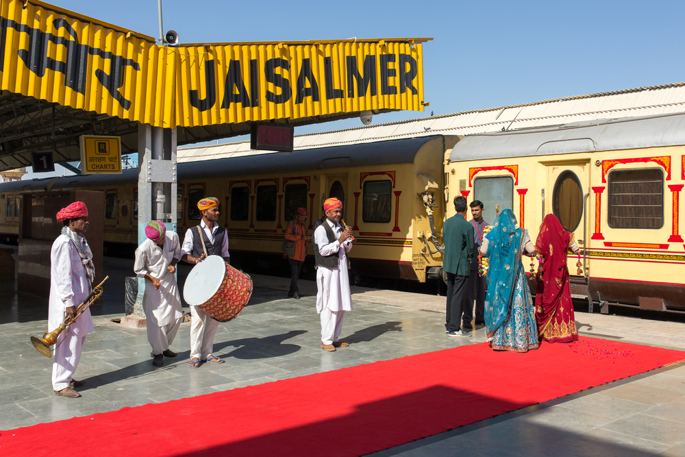 Musicians playing traditional rajasthani music for passangers of luxury train Palace on Wheels in Jaisalmer, India.