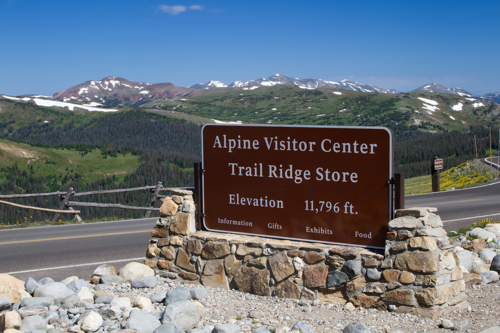 The Alpine Visitor center sits at the top of Trail Ridge Road in Rocky Mountain National Park at an elevation of 11,796 feet above sea level