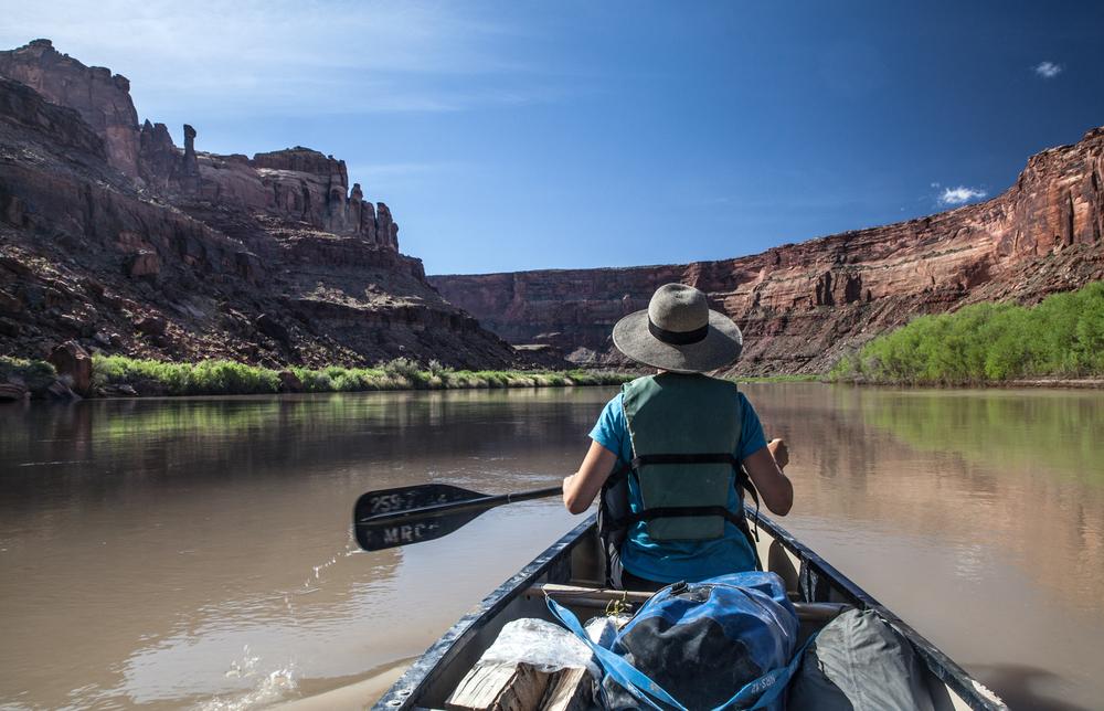 Woman in a canoe on Utah's Green River