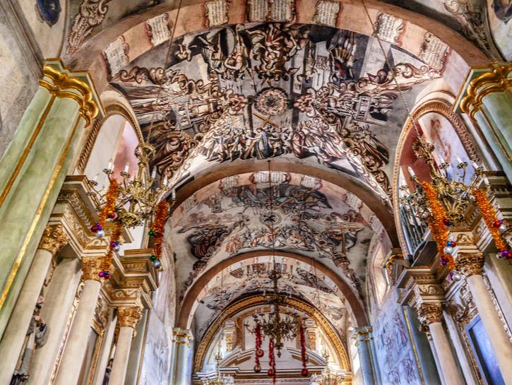 Frescoes Sanctuary of Jesus Atotonilco Mexico, known as the Sistine Chapel of Mexico.